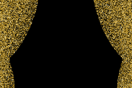 Gold glitter texture isolated on black. Celebratory background. Golden explosion of confetti.