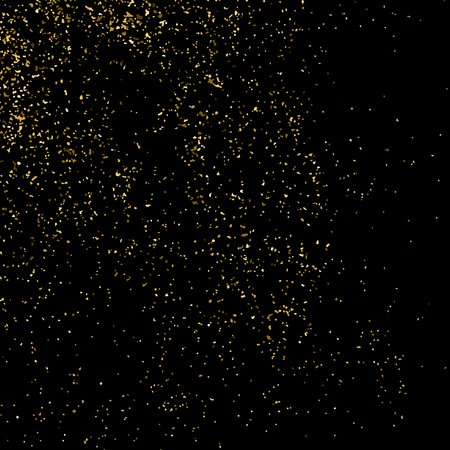 Gold glitter texture isolated on black square. Amber particles color. Celebratory background. Golden explosion of confetti. Illustration
