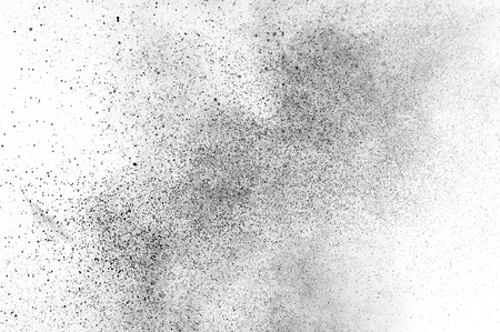 Black particles explosion isolated on white background.  Abstract dust overlay texture. Stock Photo