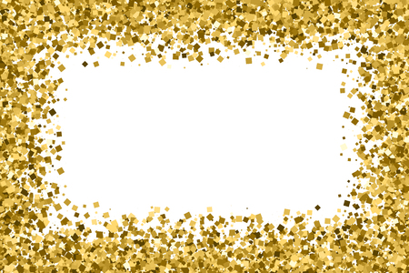 Gold frame glitter texture isolated on white. Golden color of winners. Gilded abstract particles. Explosion of confetti shine. Celebratory background.