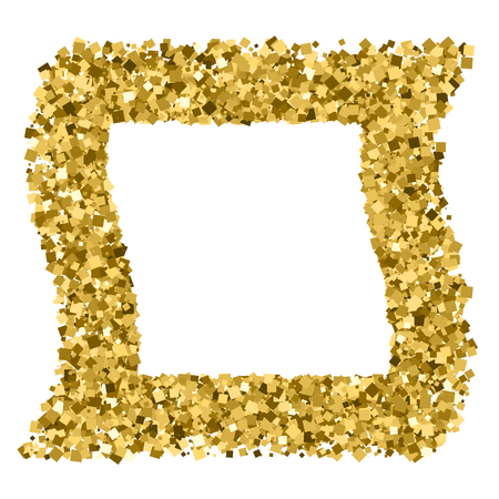 sequins: Gold frame glitter texture isolated on white. Golden color of winners. Gilded abstract particles. Explosion of confetti shine. Celebratory background.