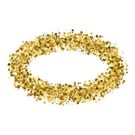 strass: Gold frame glitter texture isolated on white. Golden color of winners. Gilded abstract particles. Explosion of confetti shine. Celebratory background.