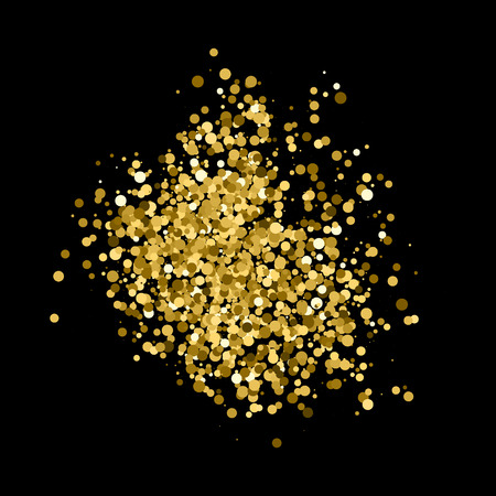 Gold glitter texture isolated on black. Amber particles color. Celebratory background. Golden explosion of confetti. Vector illustration Illustration