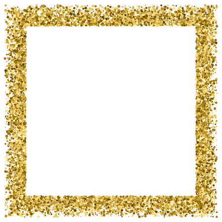 Gold frame glitter texture isolated on white. Golden color of winners. Gilded abstract particles. Explosion of confetti shine. Celebratory background. Vector illustration