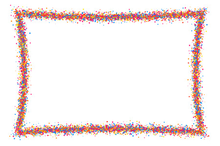 Colored frame isolated on white background. Colorful explosion of  confetti.  Flat design element. Vector illustration,eps 10.