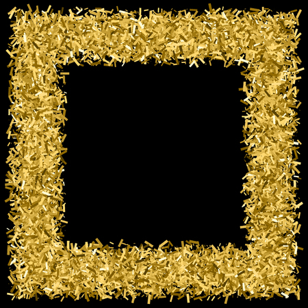 Gold frame glitter texture isolated on black. Amber particles color. Celebratory background. Golden explosion of confetti. Vector illustration,eps 10. Illustration