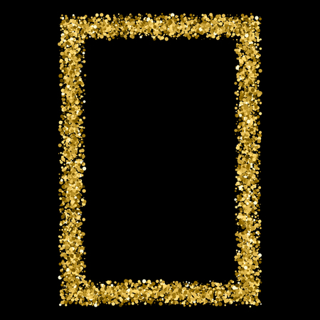 strass: Gold frame glitter texture isolated on black. Amber particles color. Celebratory background. Golden explosion of confetti. Vector illustration,eps 10. Illustration