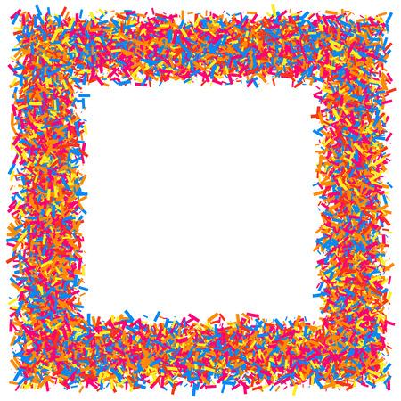 Farbige Rahmen isoliert auf weißem Hintergrund. Bunte Explosion von Konfetti. Flaches Design-Element.