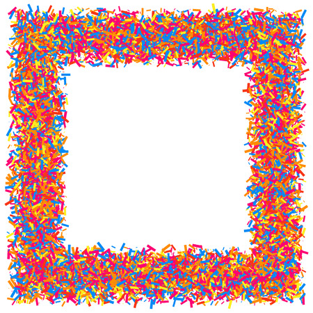 Colored frame isolated on white background. Colorful explosion of  confetti.  Flat design element.