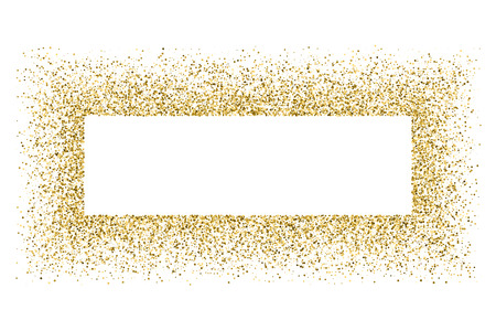 strass: Gold frame glitter texture isolated on white.  Amber particles color. Celebratory background. Golden explosion of confetti. Vector illustration,eps 10.