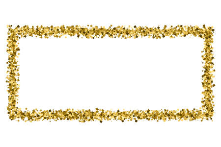 Gold frame glitter texture isolated on white.  Amber particles color. Celebratory background. Golden explosion of confetti.