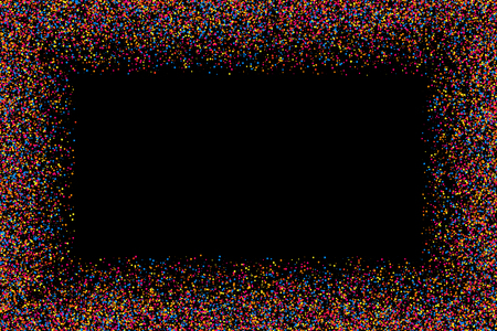 Colored frame isolated on black background. Colorful explosion of  confetti.  Flat design element.