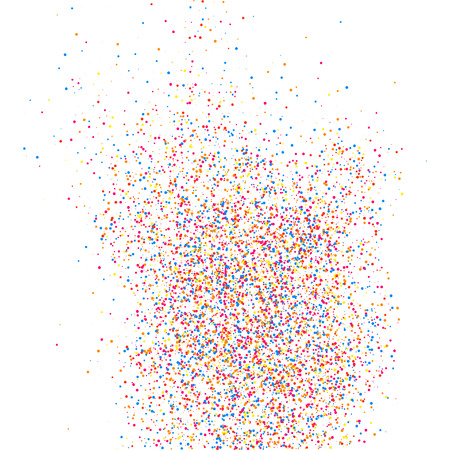 Colorful explosion of confetti. Grainy abstract  multicolored texture isolated on white background. Flat design element. Vector illustration,eps 10.