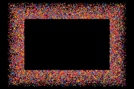 sprinkle: Colored frame isolated on black background. Colorful explosion of  confetti.  Flat design element. Vector illustration,eps 10.