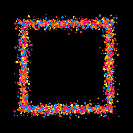 sprinkle: Colored frame isolated on black background. Colorful explosion of  confetti.  Flat design element.