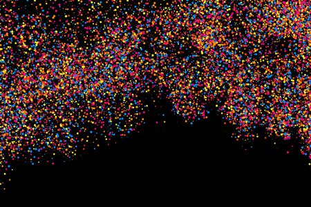sprinkle: Colorful explosion of confetti. Grainy abstract  multicolored texture isolated on black background. Raster and bitmap copy version.