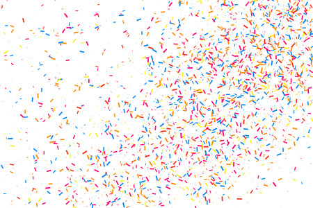 Colorful explosion of confetti. Grainy abstract  multicolored texture isolated on white background. Flat design element.