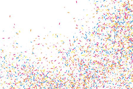 Bunte Explosion von Konfetti. Körnige abstrakte mehrfarbige Beschaffenheit lokalisiert auf weißem Hintergrund. Flaches Gestaltungselement. Vektorillustration, ENV 10.