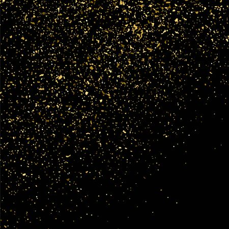Gold glitter texture isolated on black square. Amber particles color. Illustration