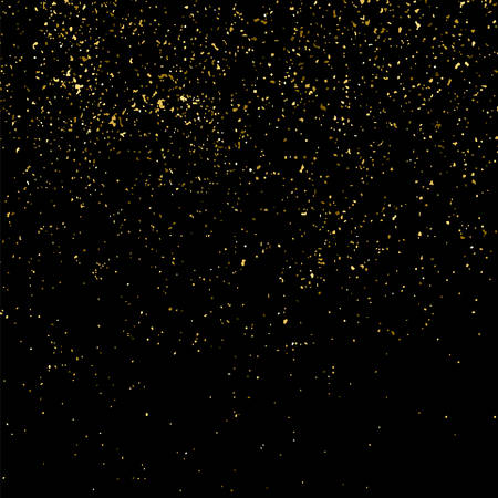 Gold glitter texture isolated on black square. Amber particles color. Celebratory background. Golden explosion of confetti. Vector illustration Illustration