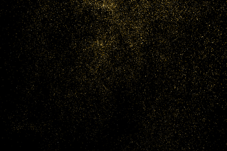 Gold glitter texture isolated on black. Amber particles color. Celebratory background. Golden explosion of confetti. Vector illustration,eps 10.