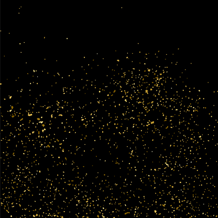 gold textured background: Gold glitter texture isolated on black square. Amber particles color. Celebratory background. Golden explosion of confetti. Illustration