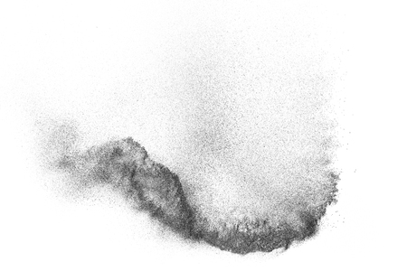 ripple: Black particles explosion isolated on white background.  Abstract dust overlay texture. Stock Photo