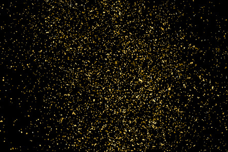 shiny black: Gold glitter texture isolated on black. Amber particles color. Celebratory background. Golden explosion of confetti. Vector illustration,eps 10.
