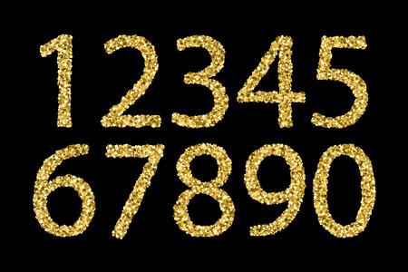 Numeri strutturati lucidi dell'oro isolati su una priorità bassa nera. Illustrazione vettoriale, eps 10