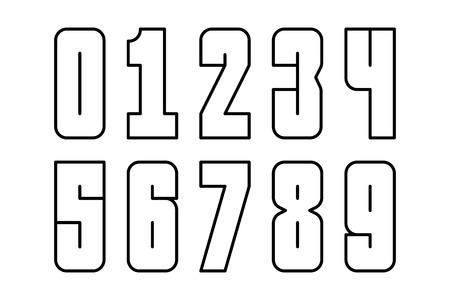 単純な線で数字のセット。ベクターイラスト。  イラスト・ベクター素材