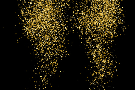 black metallic background: Gold glitter texture isolated on black. Amber particles color. Celebratory background. Golden explosion of confetti.