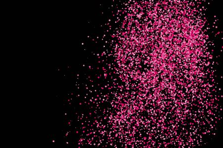 pink and black: Scarlet explosion of confetti isolated on black. Valentines Day background. Pink glitter texture.  Vector illustration,eps 10.