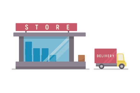Shop and delivery service. Concept of sales business. Flat vector illustration,eps 10.