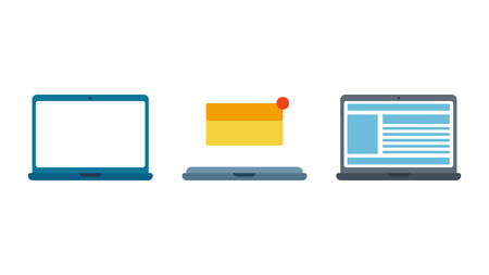 Set laptops. Mail envelope. Notification message. Concept of text on the monitor. Isolation on a white background. Flat vector illustration,eps 10. Illustration