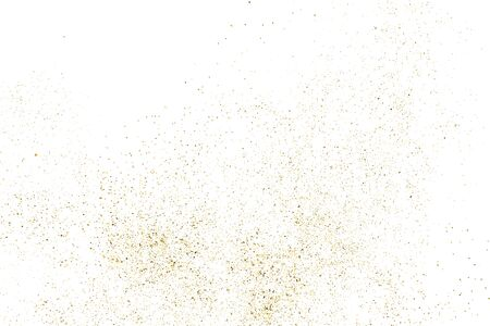 Gold glitter texture isolated on white. Amber particles color. Celebratory background. Golden explosion of confetti. Vectores