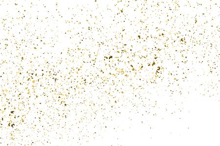 Gold glitter texture isolated on white. Amber particles color. Celebratory background. Golden explosion of confetti. Ilustração