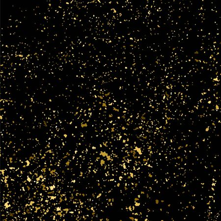 Gold glitter texture isolated on black square. Amber particles color. Celebratory background. Golden explosion of confetti. Vector illustration.