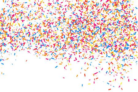 紙吹雪のカラフルな爆発。白い背景に分離された粒状の抽象的な多色テクスチャ。フラットデザイン要素。ベクトルイラスト