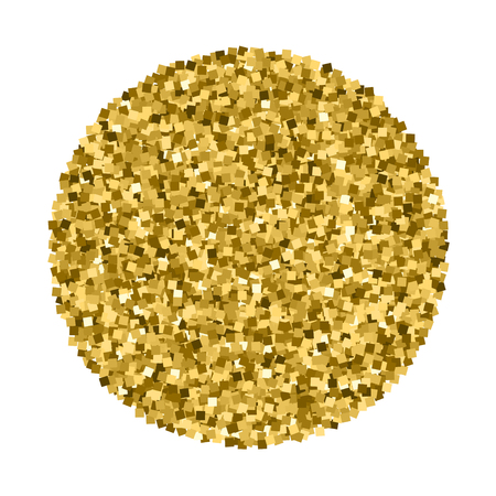 Gold glitter texture circle isolated on white. Amber particles color. Celebratory background. Golden explosion of confetti. Vector illustration,eps 10. Illustration