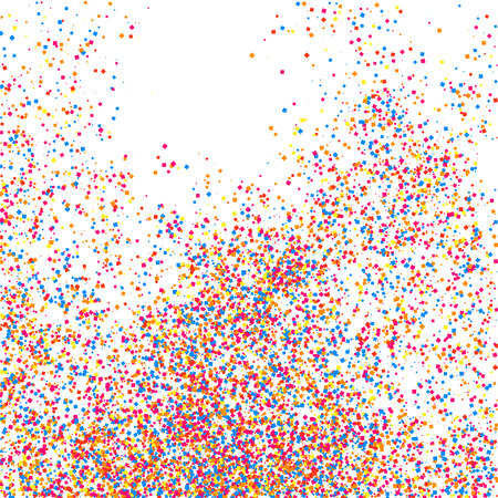 Colorful explosion of confetti. Grainy abstract multicolored texture isolated on white background. Flat design element. Vector illustration .