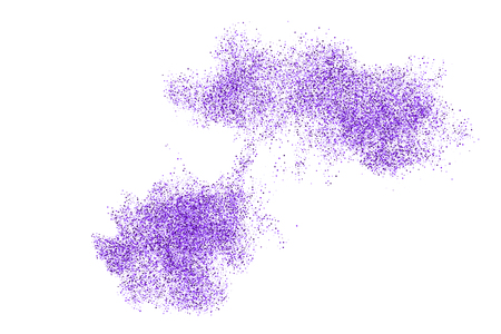 Purple explosion of confetti. Magenta abstract texture isolated on white background. Mauve flat design element. Vector illustration.