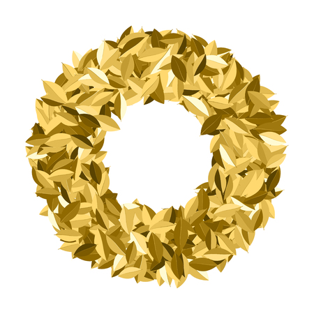 Gold award laurel wreath frame isolated on white background