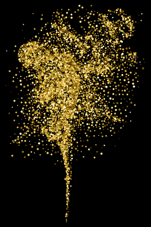 Gold glitter texture, isolated on black. Amber particles color. Celebratory background. Golden explosion of confetti.