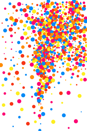 Colorful explosion of confetti. Grainy abstract multicolored texture isolated on white background. Flat design element. Vector illustration.