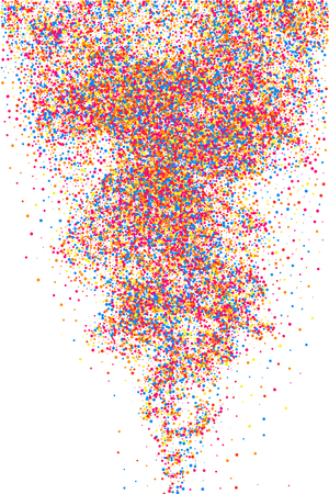 Colorful explosion of confetti. Grainy abstract multicolored texture isolated on white background.
