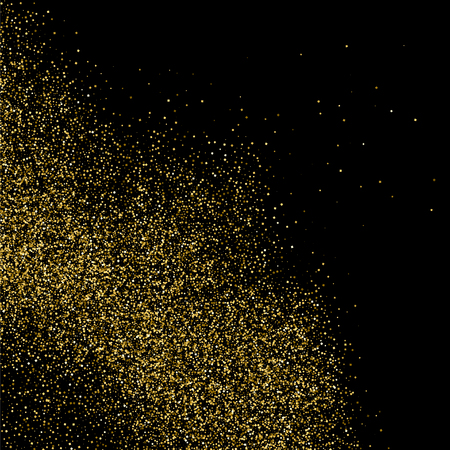 Gold glitter texture isolated on black Vector illustration Illustration