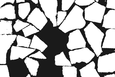 Grunge design elements. Stone masonry monochrome. White grainy texture isolated on black background.