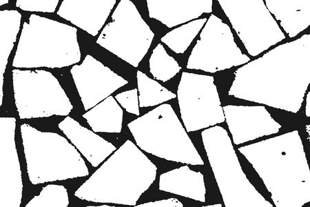 Grunge design elements. Stone masonry monochrome. White grainy texture isolated on black background.