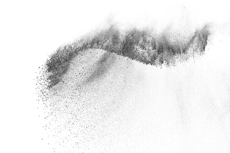 Black particles explosion isolated on white background.  Abstract dust overlay texture. Archivio Fotografico