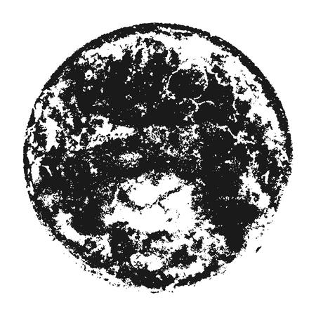 Black grainy texture round shape isolated on white background. Distress overlay textured. Grunge design elements.